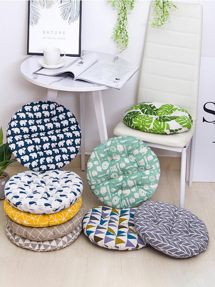 Cuscino per seduta in cotone di lino traspirante di forma rotonda e spesso Cuscino per sedia lavabile in estate 40/45/50 cm 8 cm
