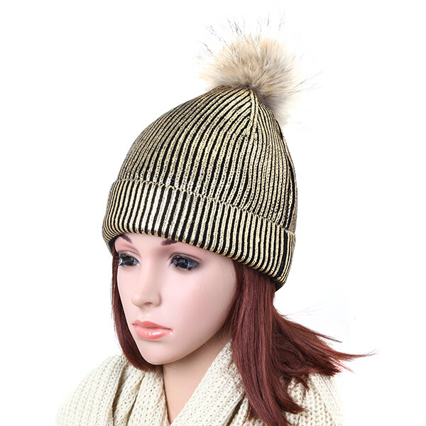 Women Bronzing Gold Silver Knitted Warm Skullies Beanies Hats With Raccoon Fur Pompom