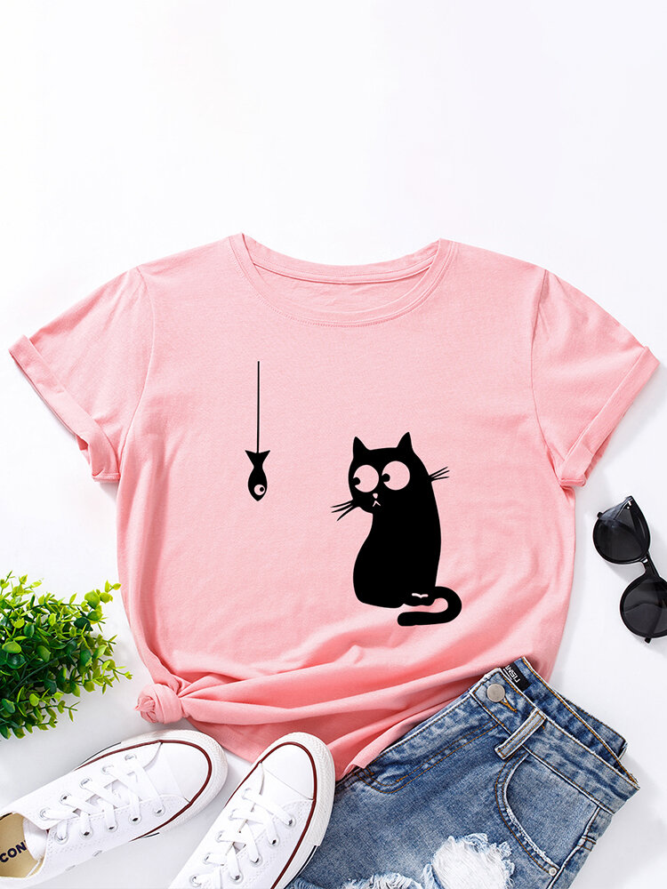 Women Cat Fish Print Loose O-neck Short Sleeve Casual T-Shirt, newchic  - buy with discount