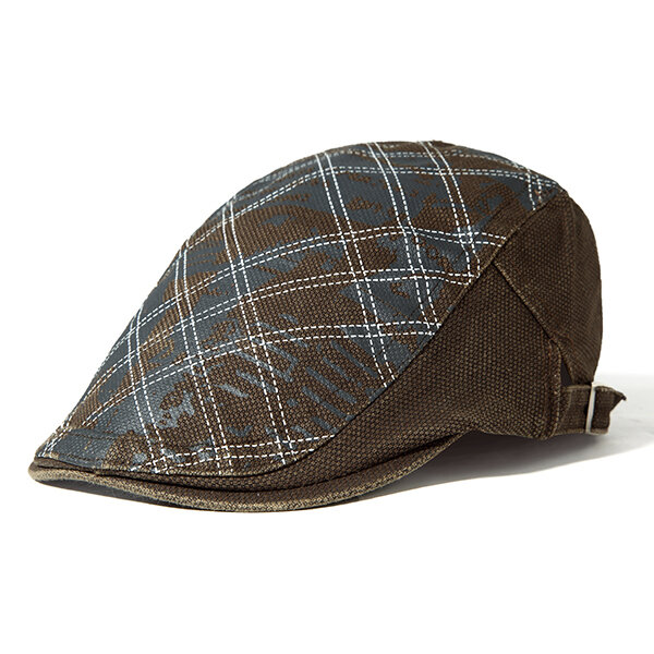 Men Plaid Cotton Beret Cap Adjustable Print Hats Casual Outdoor Warm Windproof Caps Sun Hats