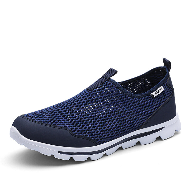 Men Mesh Fabric Breathable Slip-on Soft Sole Sport Casual Sneakers