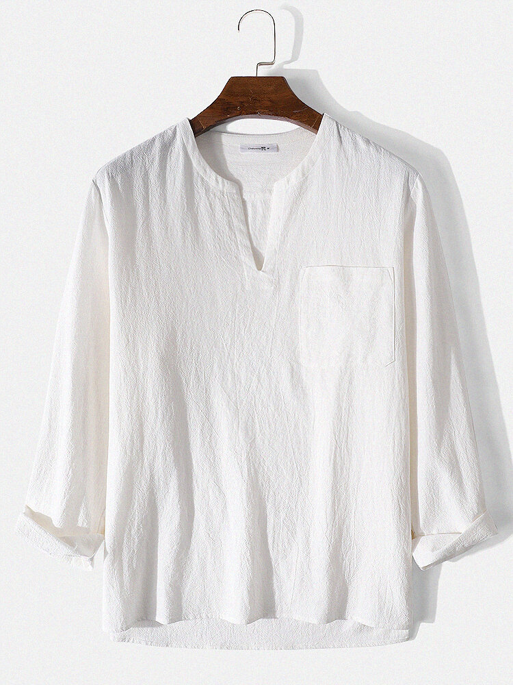 Mens Simple Solid 100% Cotton V-Neck Long Sleeve Shirt