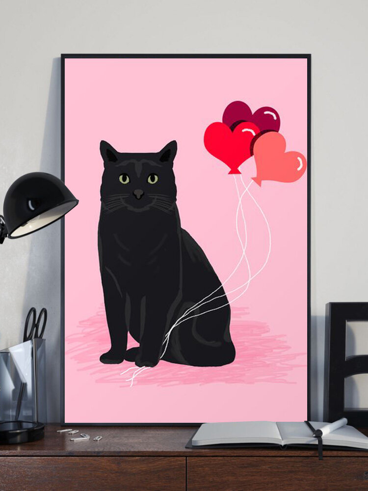 Black Cat And Pink Balloon Pattern Canvas Painting Unframed Wall Art Canvas Living Room Home Decor
