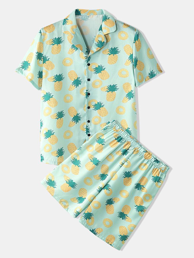 Men Pineapple Print Pajamas Faux Sik Two Pieces Sets Smooth Breathable Home Loungewear
