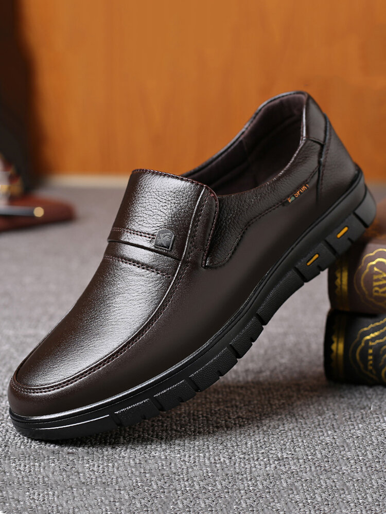 Men Casual Round Toe Wearable Business Casual Leather Loafers