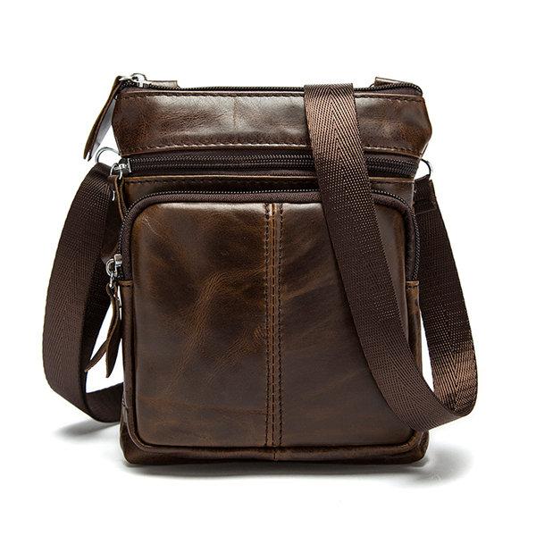 Men Genuine Leather Crossbody Bag Cowhide Leather Business Vintage Shoulder Bag