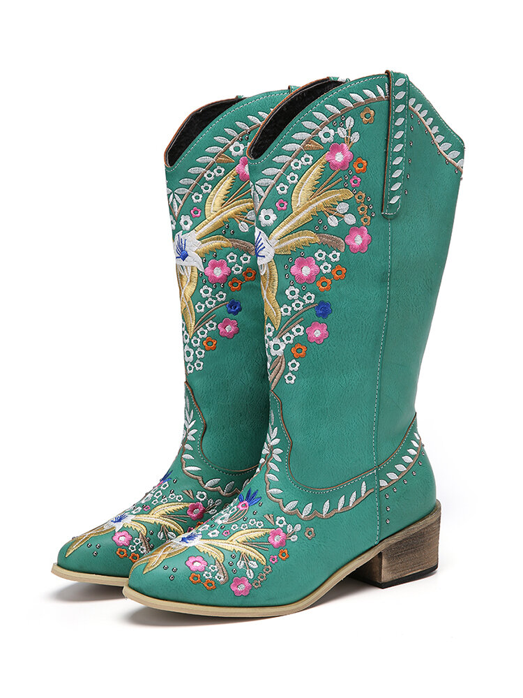 Women Leather Retro Floral Printing Wearable Comfy Slip On Chunky Heel Mid-calf Cowboy Boots