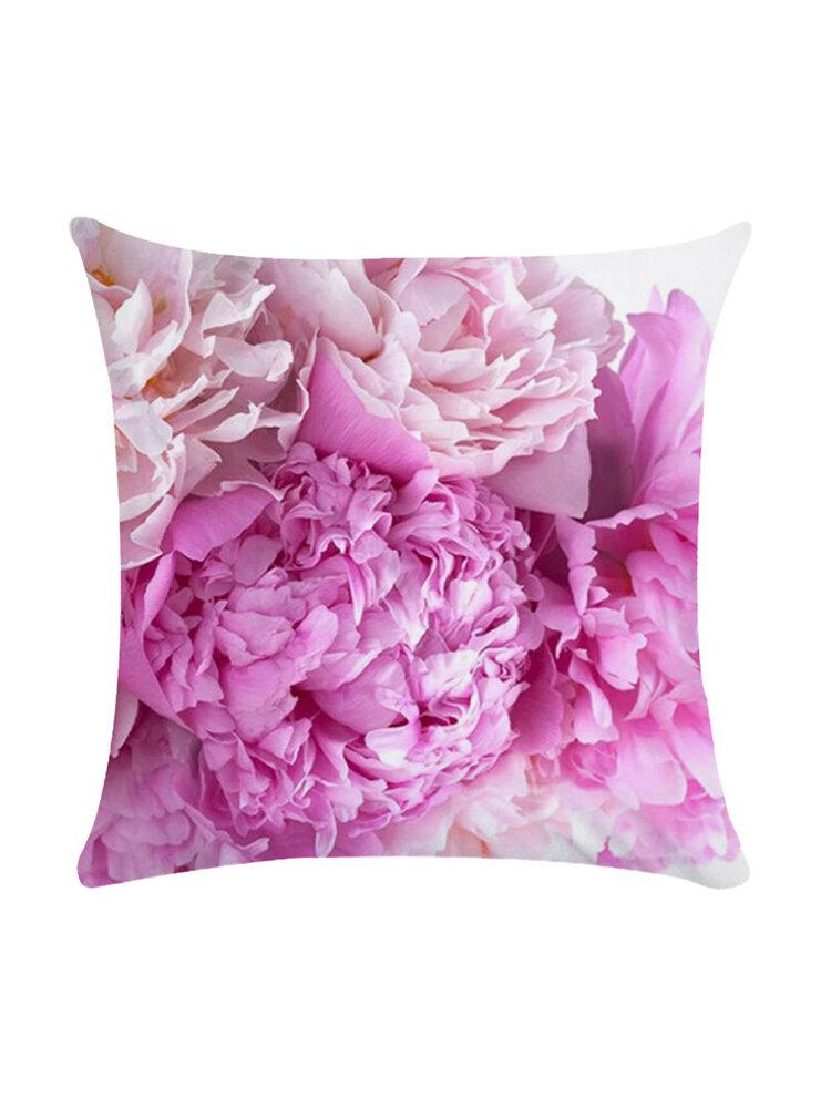 Blumenstrauß 45 * 45cm Kissenbezug Leinen Dekokissen Auto Home Decoration Dekorativer Kissenbezug