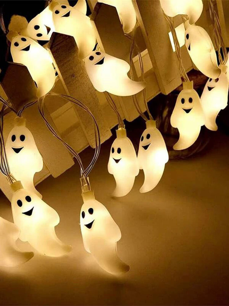 10/20/40/50 Leds Ghost Party Lamp String Lights Ghost Pattern Decorative Energy-Saving Plastic Scary Ambience Halloween Light Cosplay Prop
