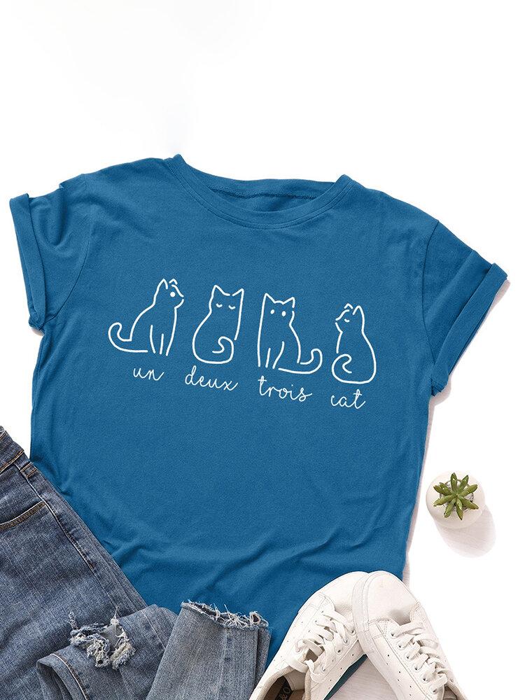 漫画の猫の手紙は女性のための半袖OネックTシャツを印刷しました