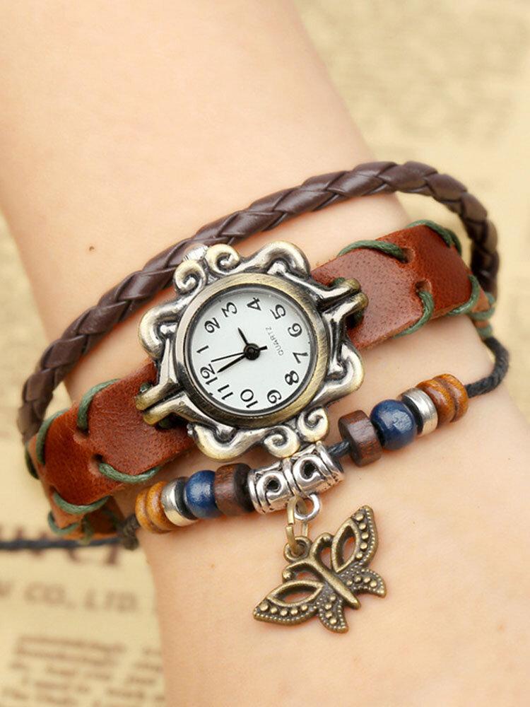 Vintage Cowhide Multilayer Quartz Watch Diamond Butterfly Pendant Leather Bracelet Watch