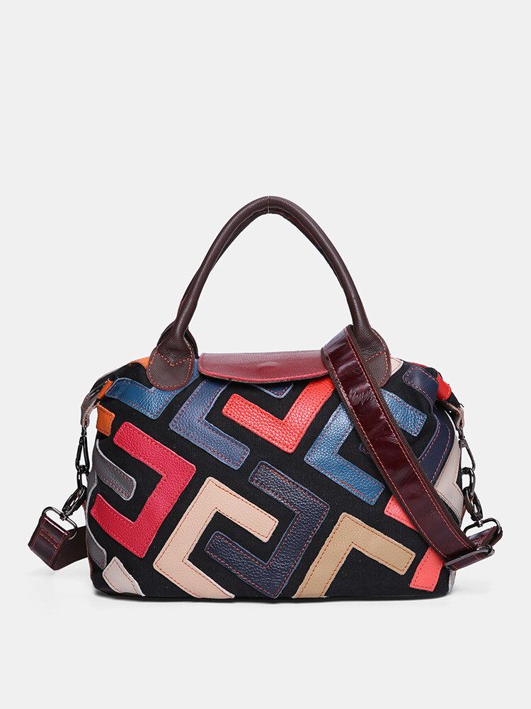 Women Bohemian Genuine Leather Patchwork Handbags Large Capacity Vintage Crossbody Bags