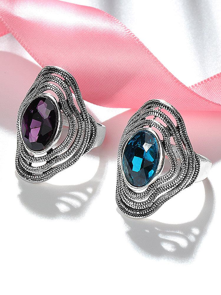 Anneau de pierres précieuses creuses à pompon en métal Vintage anneau de doigt en verre bleu ovale géométrique - 8 - Modalova