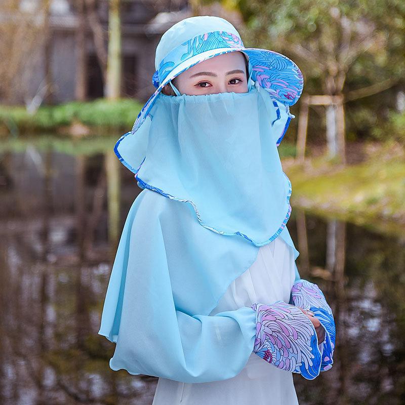قبعة الإناث شال قناع القابلة للإزالة رقيقة تنفس واسعة حافة قبعة الحماية في الهواء الطلق الشمس
