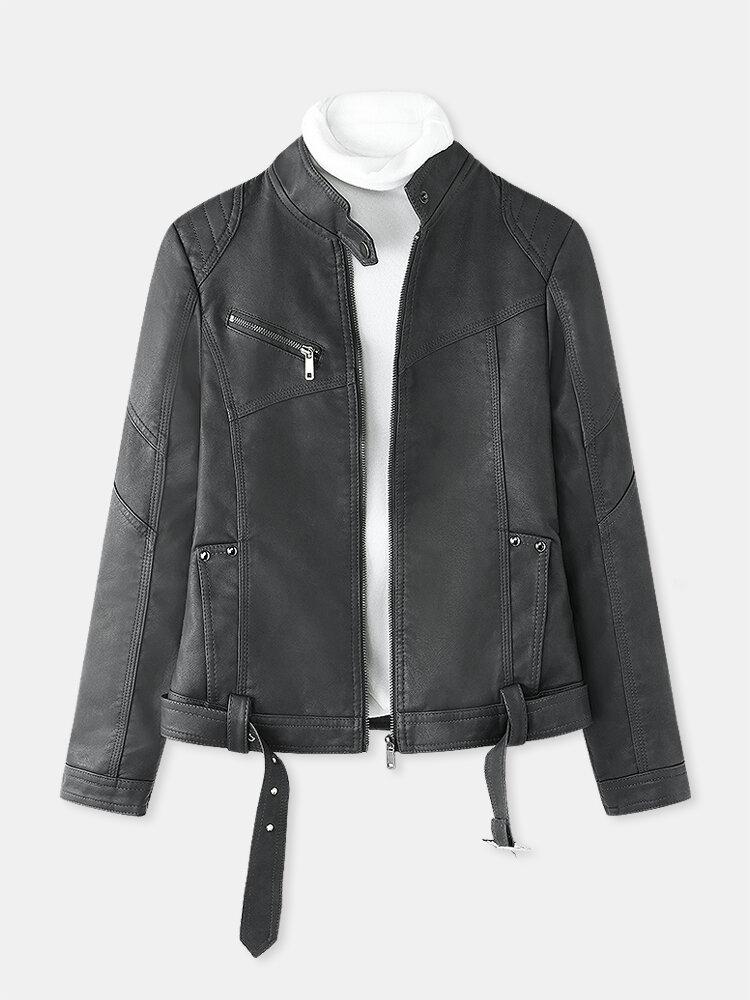 Однотонная кожаная куртка на молнии спереди Ремень для Женское