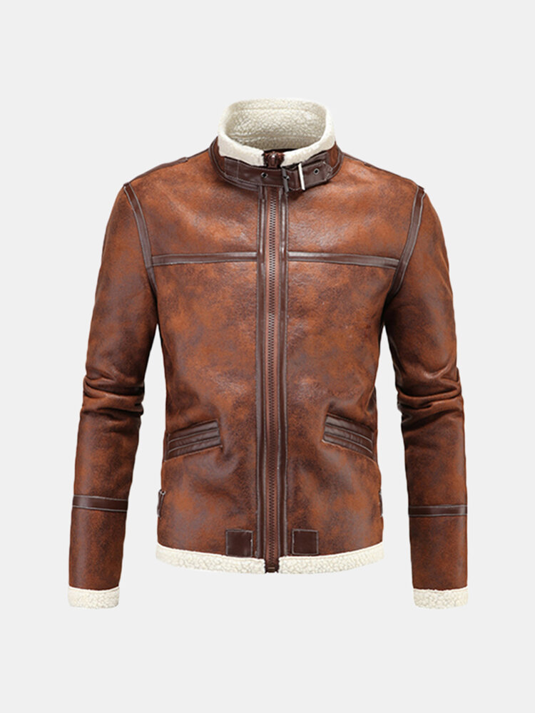 Stand Collar Inside Fleece Thick Warm Cosplay Game Faux Leather Jacket