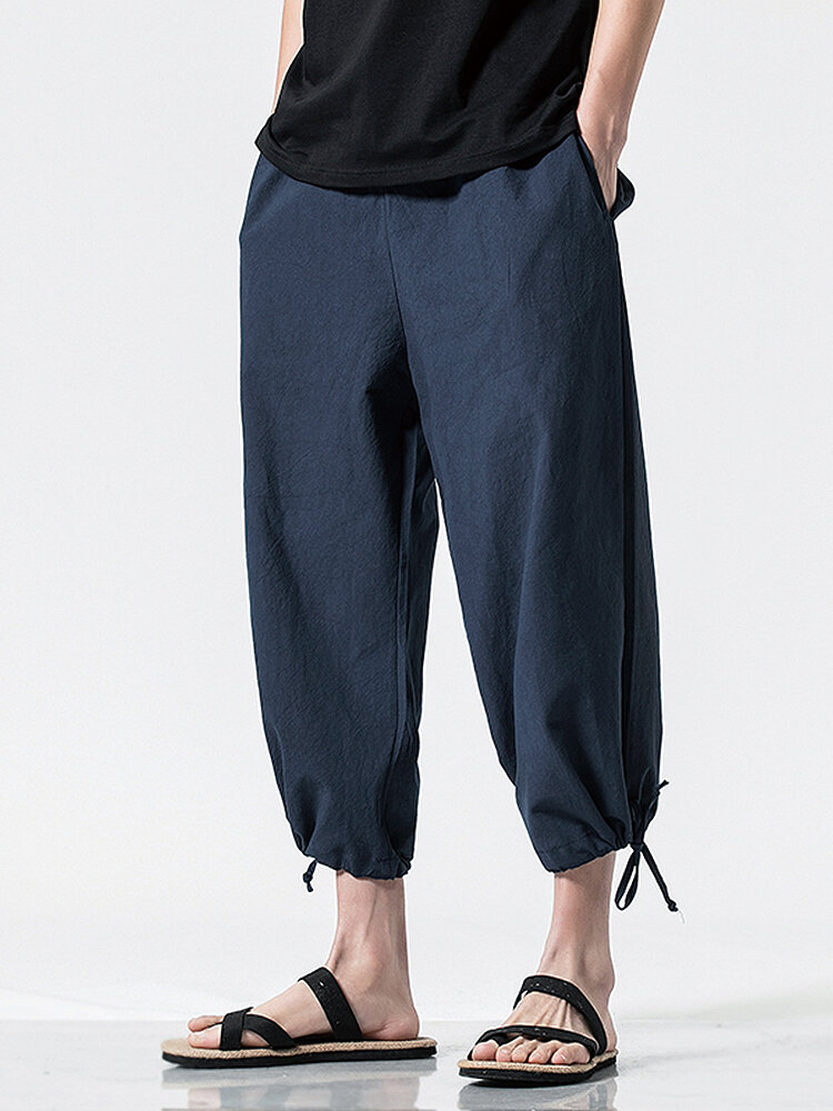Mens Solid Color Loose Breathable Drawstring Waist Ankle Jogger Pants