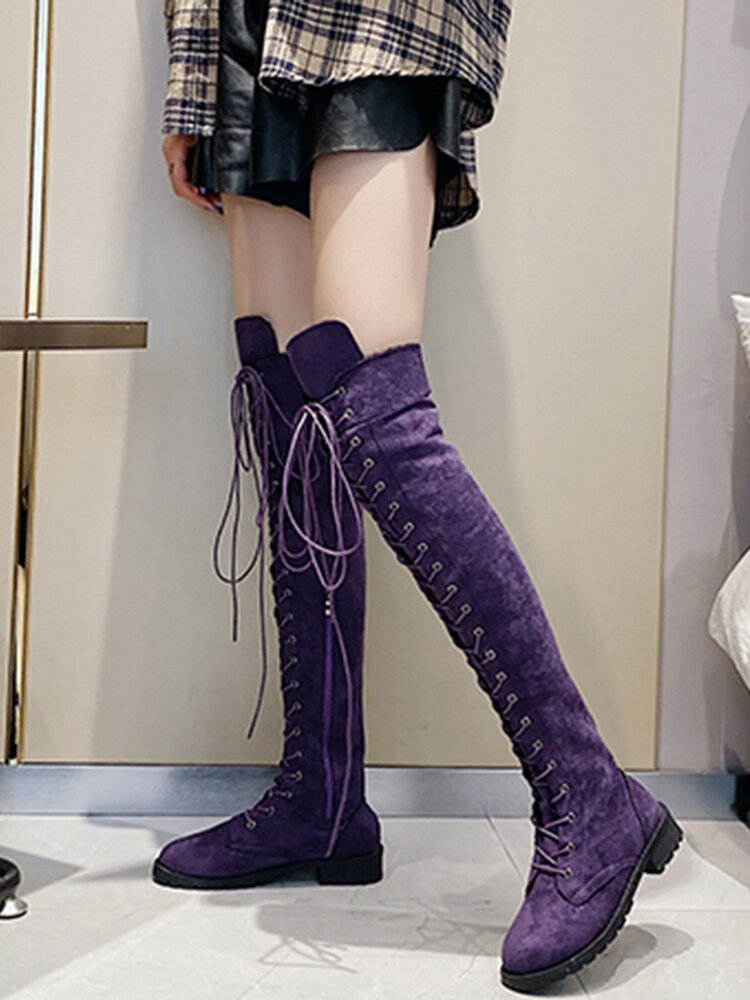 Plus Size Women Comfy Suede Crossover Strap Zipper Knee Boots