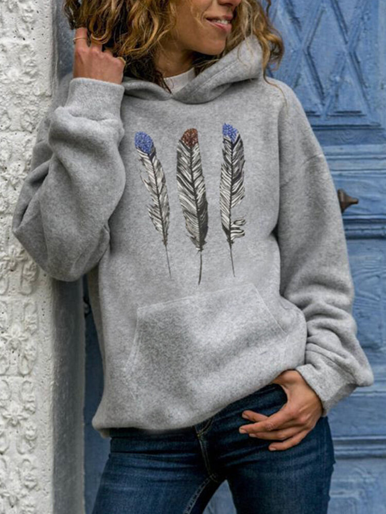 Feather Print Hooded Long Sleeve Casual Hoodie For Women