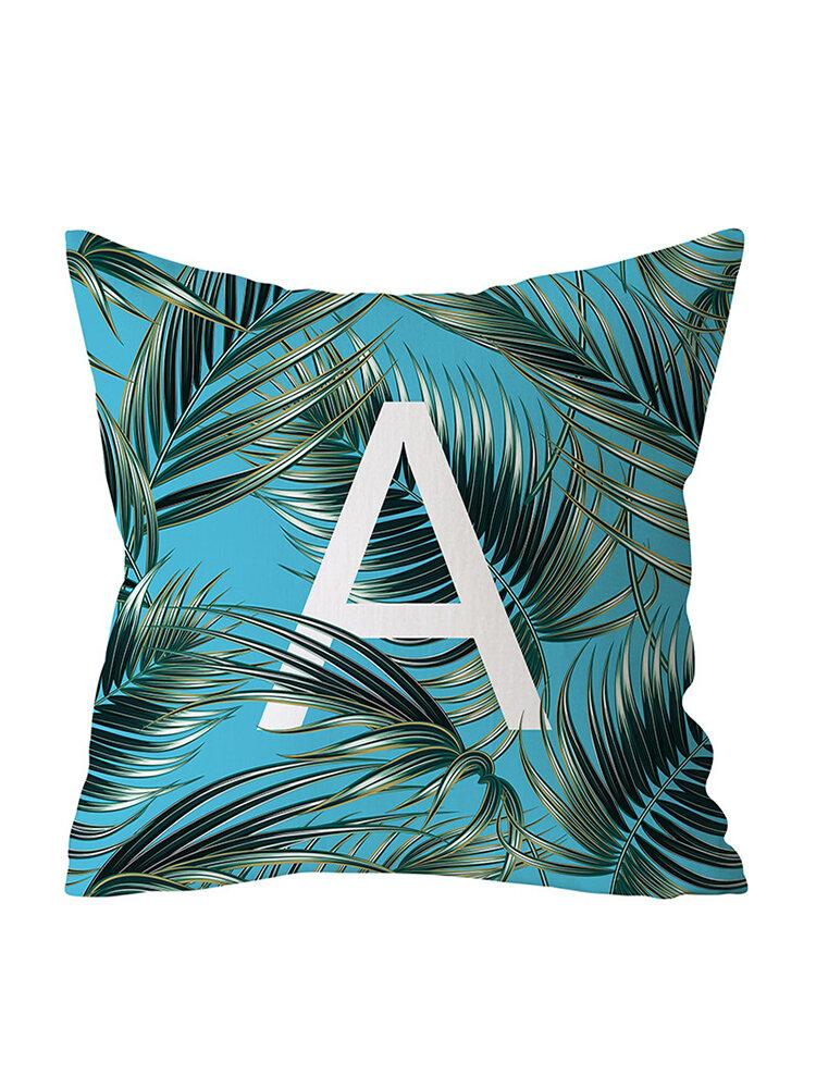 Jungle Green Plants Alphabet Letter Pattern Peach Skin Cushion Cover Home Sofa Art Decor Pillowcases