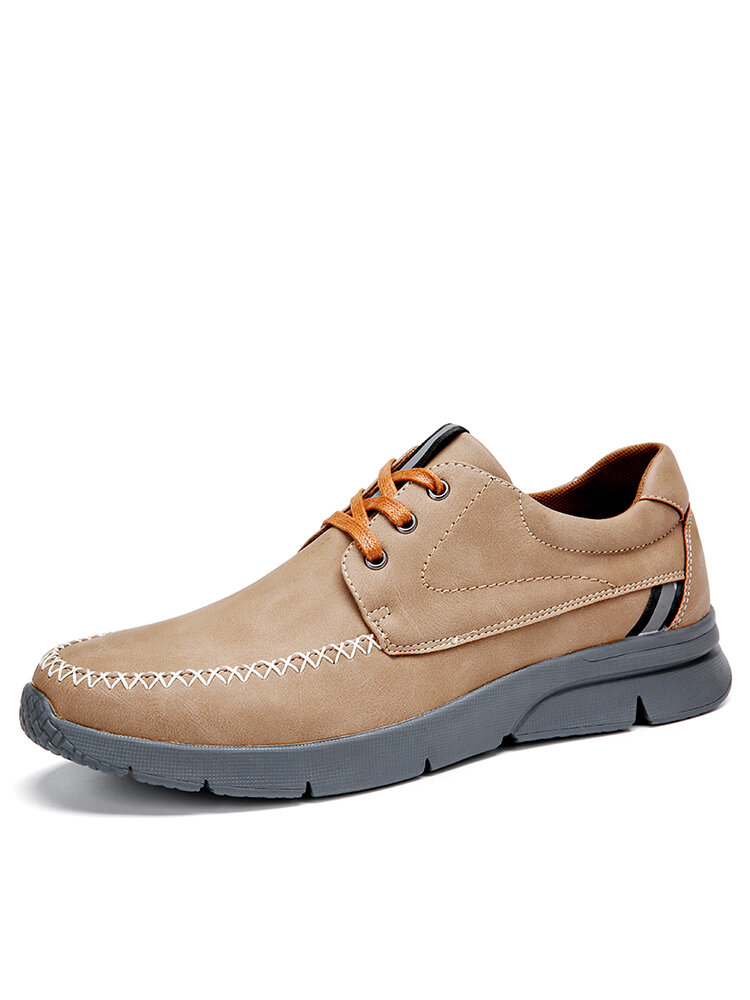 Menico Men Stitching Microfiber Leather Comfy Lace-up Business Casual Shoes