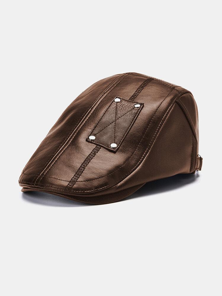 Men's Beret Caps Casual Artificial Leather Newsboy Cap Warm Hats