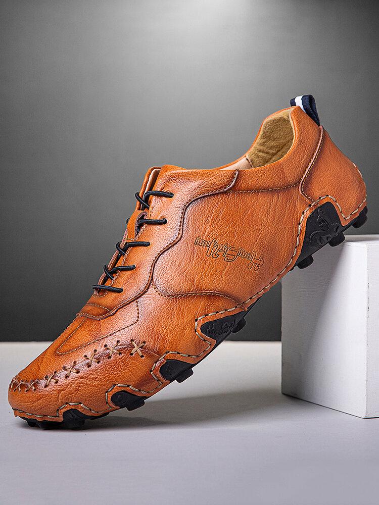 Menico Hommes Confortables Antidérapants Soft Chaussures En Cuir Décontractées À Coutures À La Main