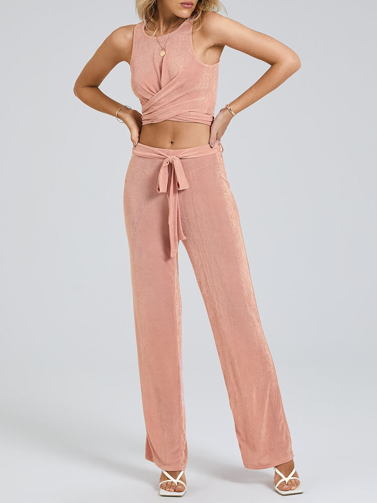 Solid Color Knotted Skinny Strap O-Neck Tank Top Pants Suit