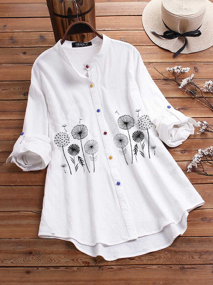Flower Print Long Sleeve Colorful Button Long Sleeve Shirt For Women