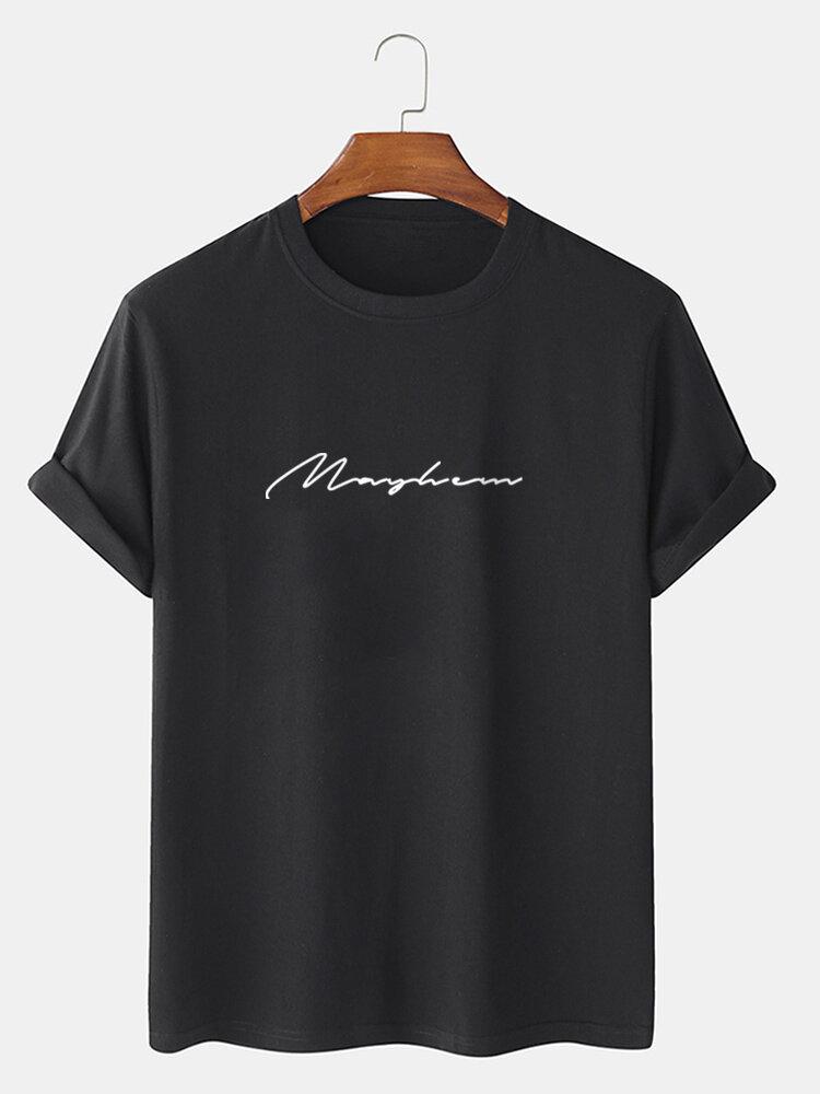 メンズレタースクリプトプリントカジュアル100%コットン半袖Tシャツ