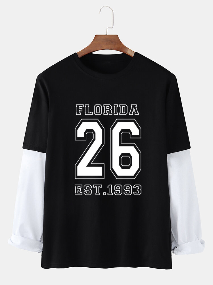 Mens Letter Number Print Faux Two Pieces Cotton Long Sleeve T-Shirts