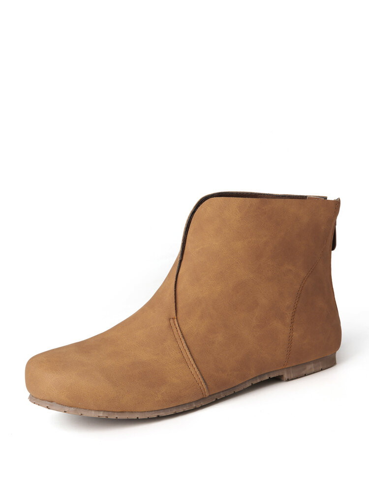 Women Casual Retro Solid Color Round Toe Comfy Ankle Boots