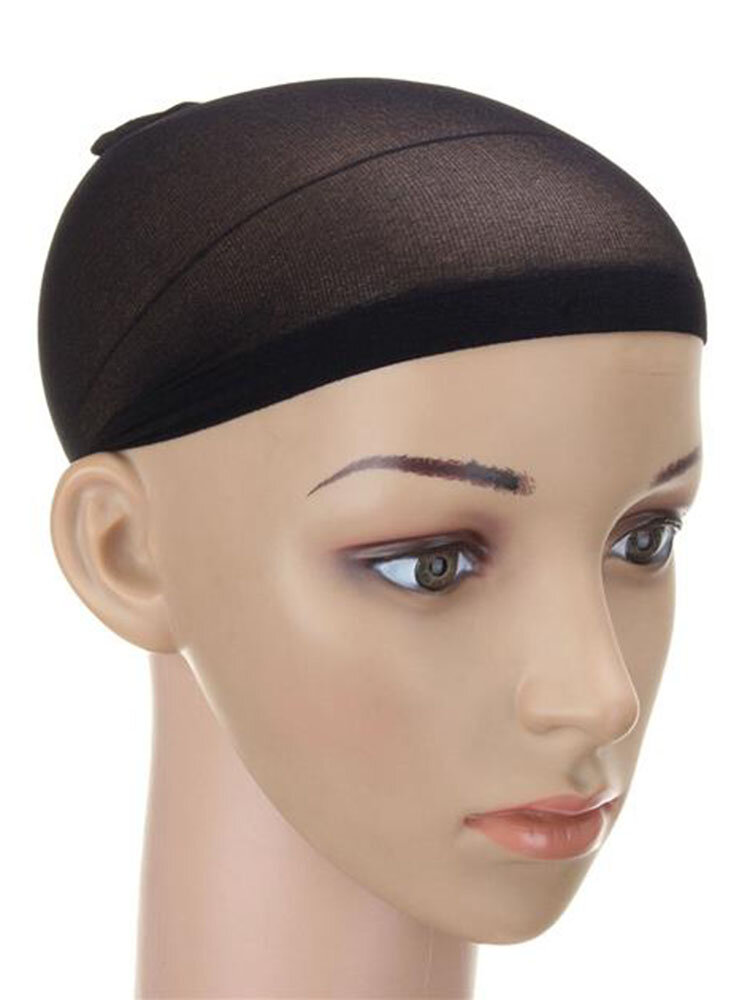 2PCS Men Women Elastic Stocking Wig Liner Cap Snood Nylon Stretch Mesh Hat