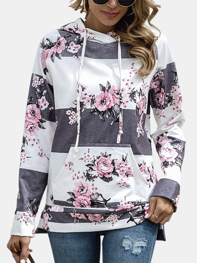 Floral Printed Striped Drawstring Hoodie For Women