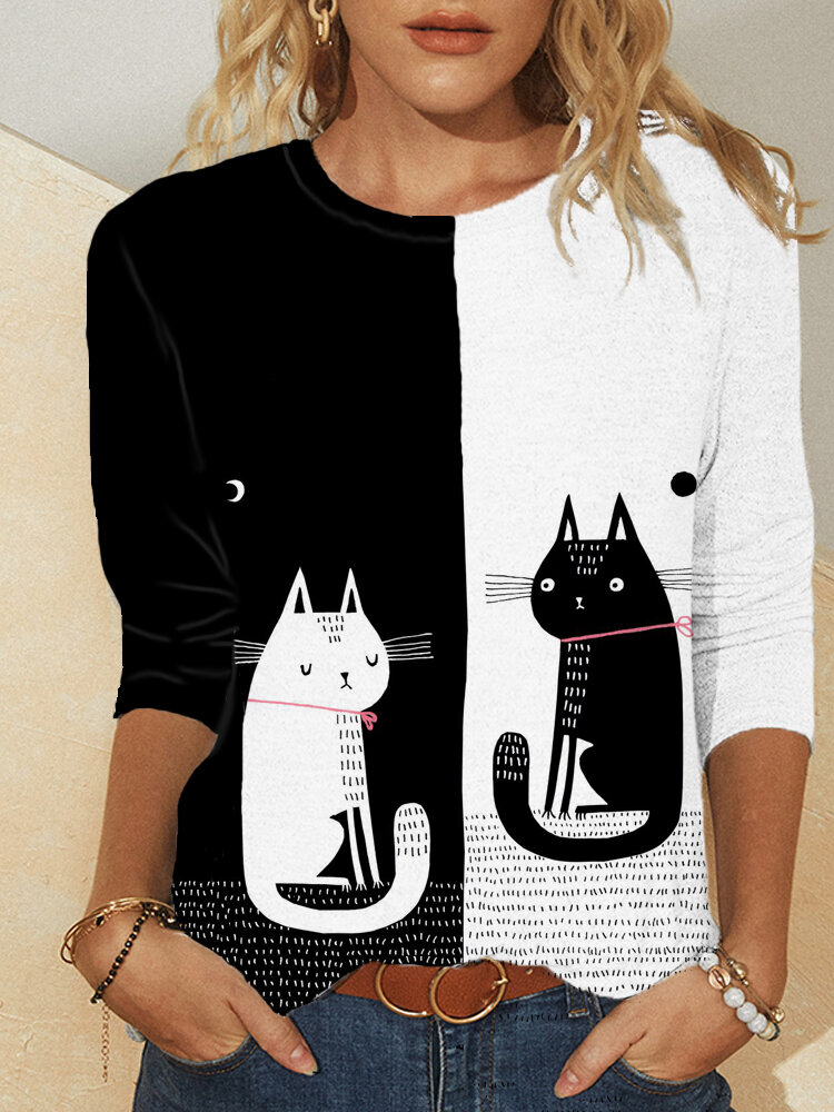Cartoon Cat Print O-neck Long Sleeve Plus Size T-shirt for Women