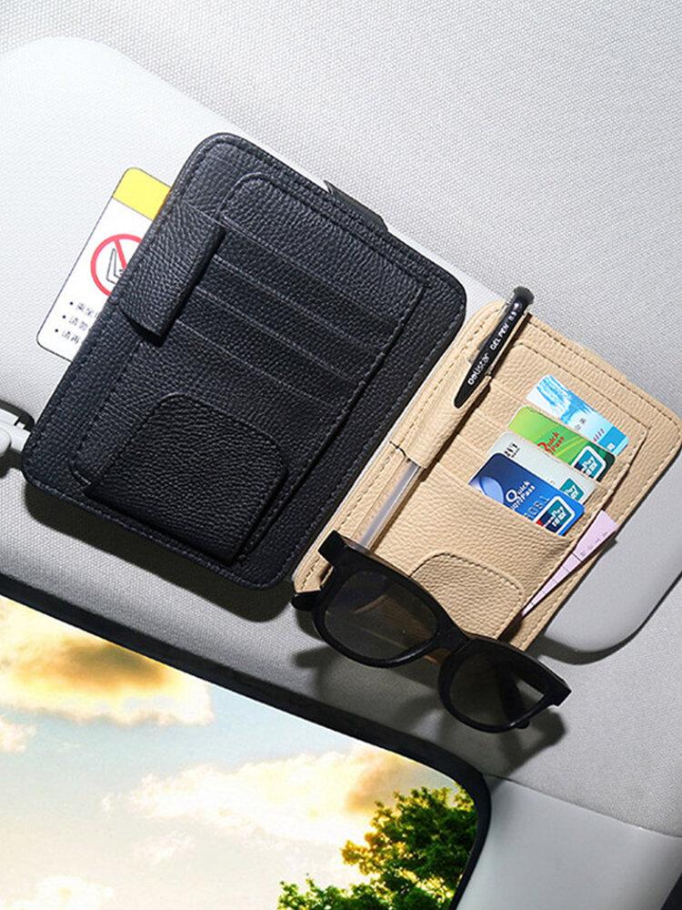 Multifunktionale Büroklammer für Sonnenblenden aus Leder