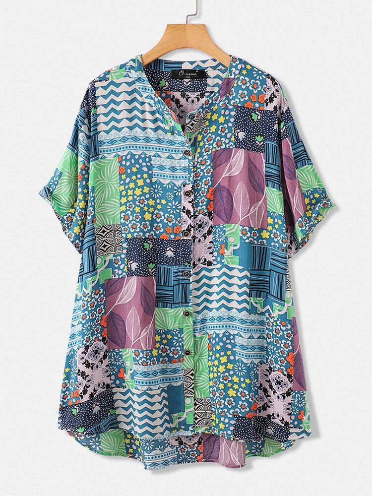 プリントスタンドカラー半袖Plusサイズシャツ