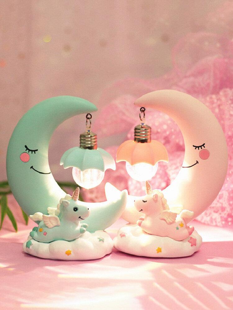 LED Unicorn Night Light Moon Lamp Luminaria Romantic Bedside Lamp Ideal Gifts