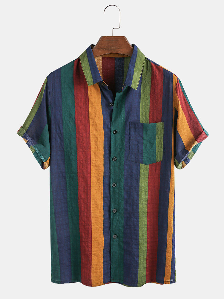Mens Thin & Breathable Cotton Colorful Stripe Holiday Short Sleeve Shirt