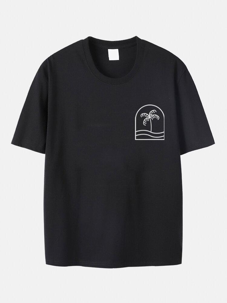 プラスサイズメンズ綿100%ココナッツツリープリントカジュアル半袖Tシャツ