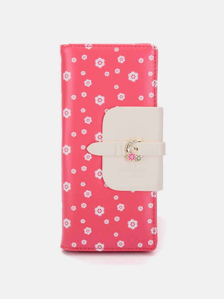 Women Retro Floral PU Leather Long Wallet