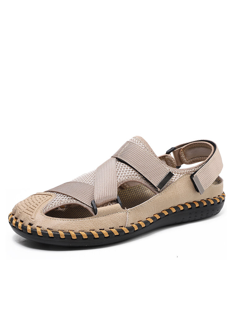 Men Hollow Out Hook Loop Closed Toe Hand Stitching Outdoor Sandals
