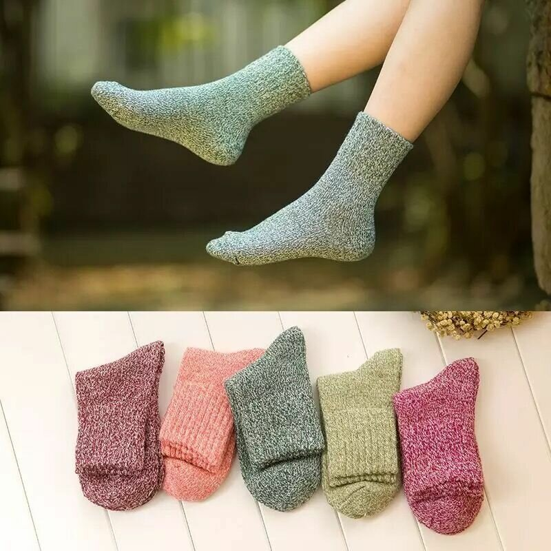 Women Socks Solid Colors Wool Blend Socks Casual Soft Thick Warm Middle Tube Hosiery