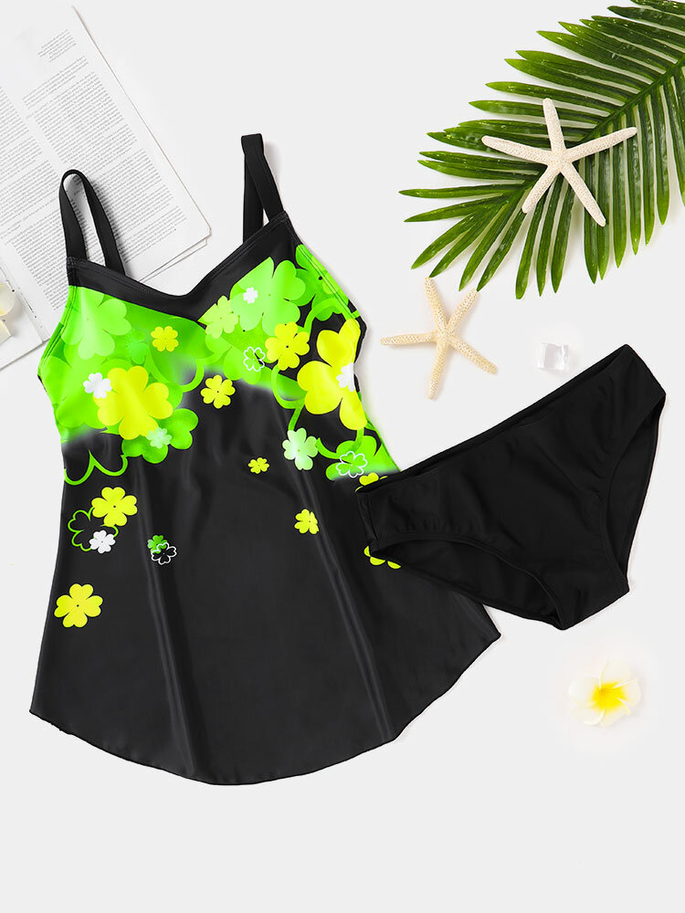 Plus Size Women Floral Print Backless Strappy Swimdress With Panty