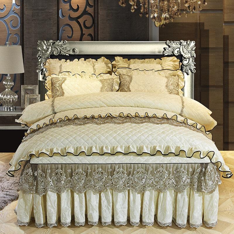 4 шт. / Компл. Бархатный комплект постельного белья в стиле римских праздников Twin Full Queen King пододеяльник юбка-кровать