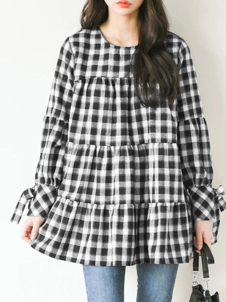 Blusa con cuello redondo y manga larga con estampado de cuadros para Mujer