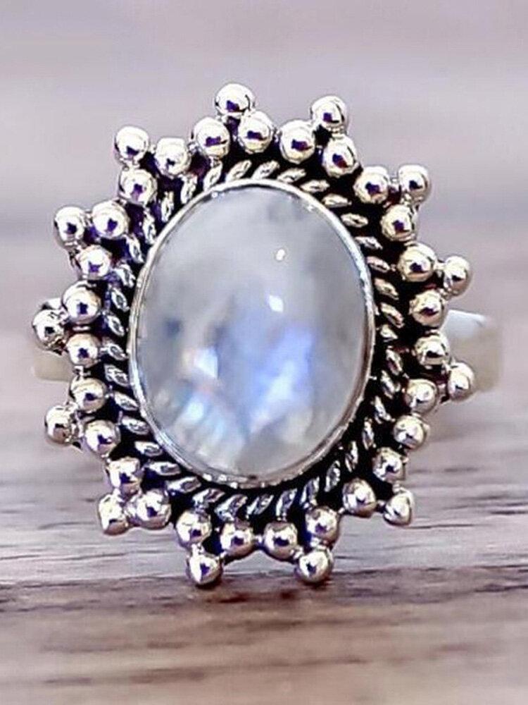Vintage Geometric Natural Noonstone Ring Metal Oval Cobblestone Finger Ring