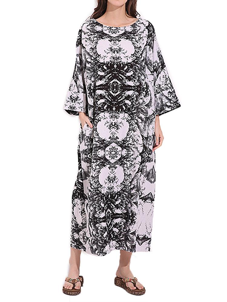 ヴィンテージ女性プリント長袖Oネックポケットローブドレス
