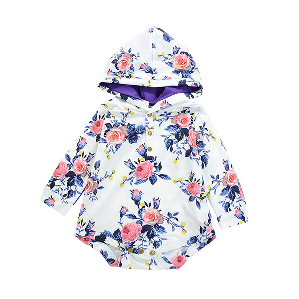 Floral Print Girls Romper Hooded Bodysuit Outfit For 0-24M