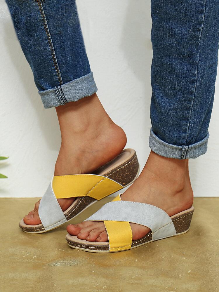 Women Casual Comfortable Cross Stitching Slide Platform Sandals